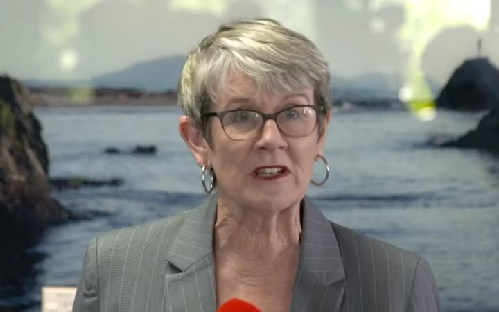 A screengrab of Judy Turner at the Whakaari/ White Island Thursday press conference.