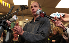 Nicky Hager speaking to reporters at his book launch on Wednesday.