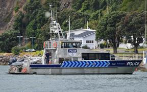The police boat Deodar III arrives into Whakatane.