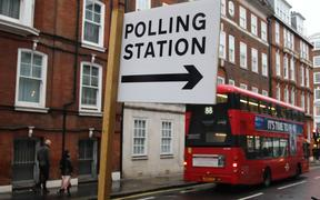 Polling Station sign is seen two days before General Elections in London, Great Britain on December 10, 2019. (Photo by Jakub Porzycki/NurPhoto)