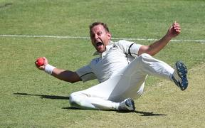 Neil Wagner takes a catch to dismiss David Warner.