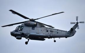 A second airforce helicopter arrives at Whakatane airport on Thursday to help with the removal of bodies from White Island eruption.