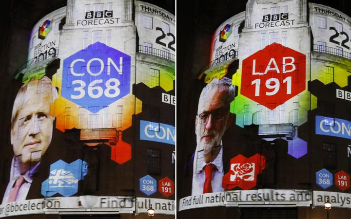 A combination of pictures shows the broadcaster's exit poll results with Britain's Prime Minister Boris Johnson's Conservative Party winning 368 seats (L) and Jeremy Corbyn's Labour Party winning 191 seats, on the outside of the BBC building in London