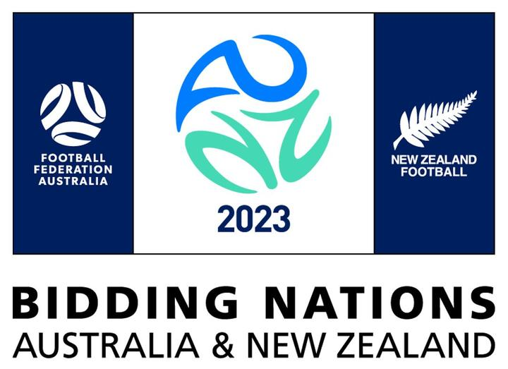 Image of the graphics used for the NZ and Australia bid for the 2023 Women's Football World Cup.