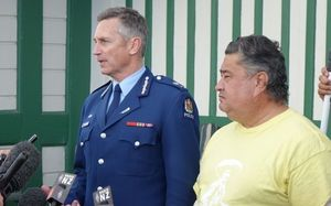 Police Commissioner Mike Bush with Tuhoe spokesperson Tamati Kruger.