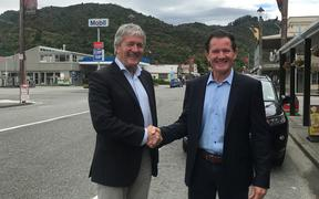 West Coast-Tasman MP and Rural Communities Minister Damien O'Connor with Tasman Mining managing director Mark Le Messurier in Reefton today.