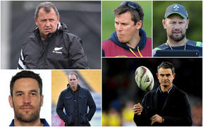 All Blacks head coach Ian Foster (Top left), David Hill (Bottom Left), John Plumtree (Middle Bottom), Brad Mooar (Middle Top), Greg Feek (Top Right) and Scott McLeod (Bottom Right).