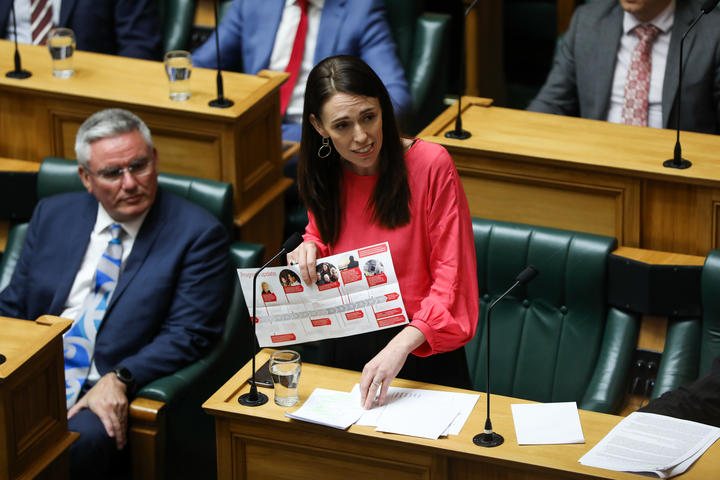 Prime Minister Jacinda Ardern lists her Government's achievements over 2019 with the help of a poster
