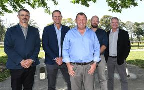 All Blacks head coach Ian Foster, front, with his new coaching/selection team, from left, Scott McLeod, John Plumtree, Greg Feek and selector Grant Fox.