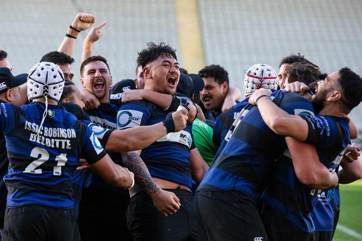 Ponsonby celebrate beating Marist in Auckland club rugby's 2019 Gallaher Shield final.