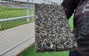 A sample of Ecocept, which is made from end-of-life plastics and old car tyres.