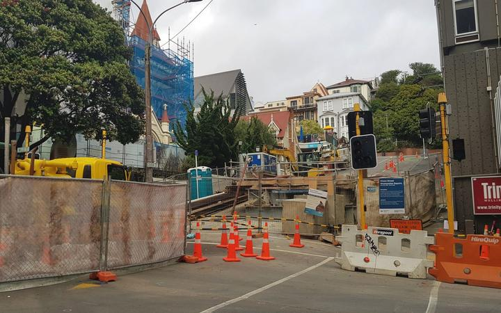 Corner of Dixon St and Willis St for sewerage pipe repairs in Wellington