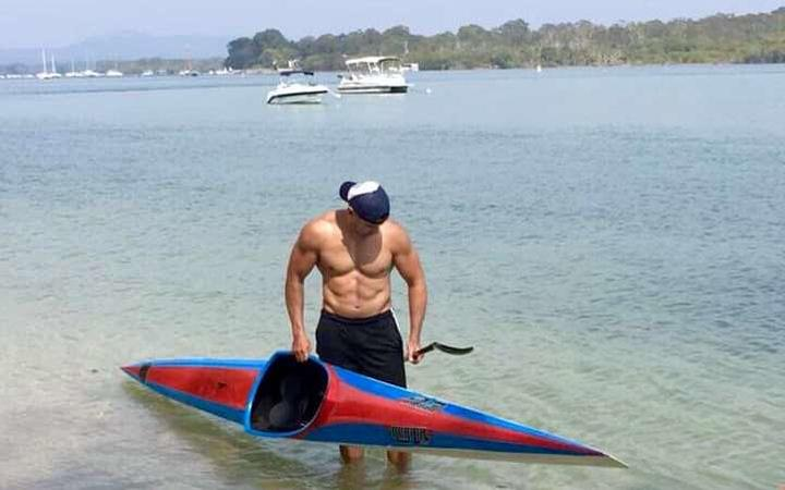 Pita Taufatofua during kayak training.