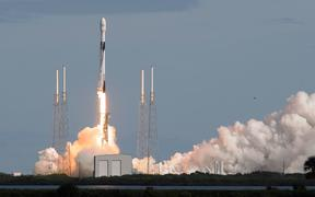 A SpaceX Falcon 9 rocket lifts off from Cape Canaveral carrying 60 Starlink satellites on November 11, 2019 in Cape Canaveral, Florida. The Starlink constellation will eventually consist of thousands of satellites for high-speed internet service.
