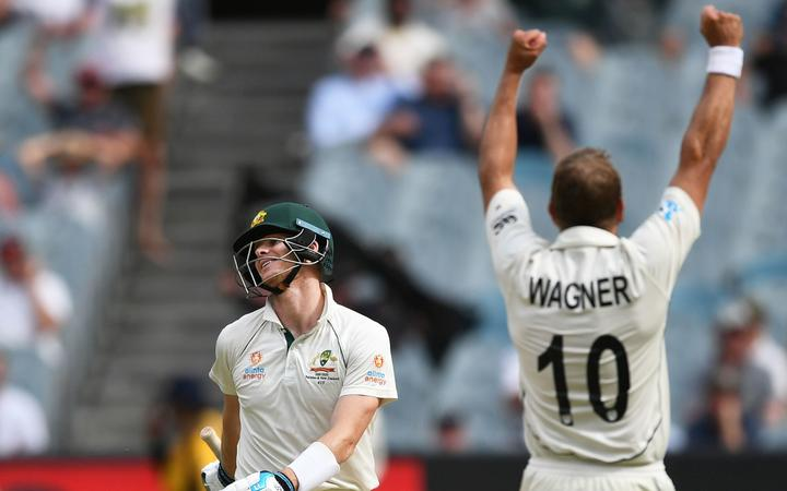 Steve Smith reacts as he is caught by Southee off the bowling of Wagner during play on Day 3 of the second cricket test match. ICC World Test Championship, New Zealand Black Caps v Australia, MCG, Melbourne, Australia.