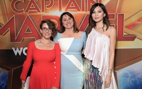 "HOLLYWOOD, CA - MARCH 04: (L-R) Director/Writer Anna Boden, Executive Producer Victoria Alonso, and Actor Gemma Chan attend the Los Angeles World Premiere of Marvel Studios' ""Captain Marvel"" at Dolby Theatre on March 4, 2019 in Hollywood, California.   Charley Gallay/Getty Images for Disney/AFP"