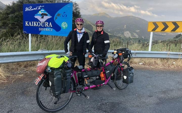Rachael Marsden and Catherine Dixon and are tandem cycling around the world for charity.
