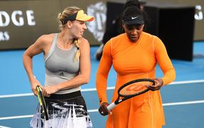 Caroline Wozniacki from Denmark and Serena Williams from the USA at the 2020 ASB Classic.