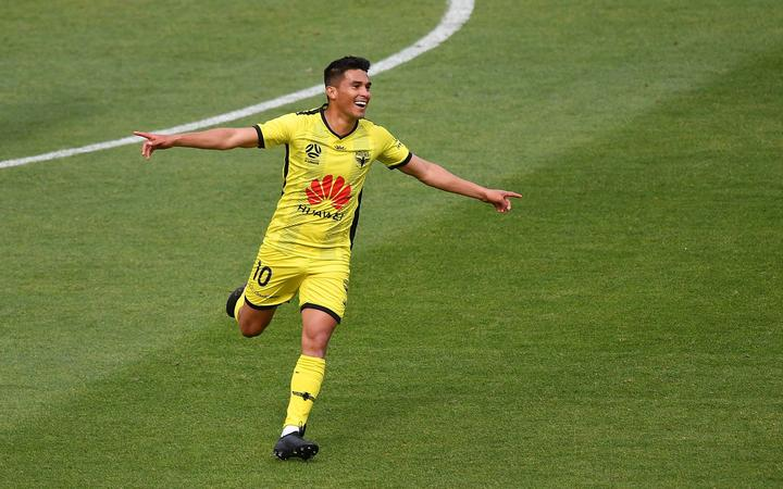 Phoenix's Ulises Davila Plascencia celebrates his goal.
