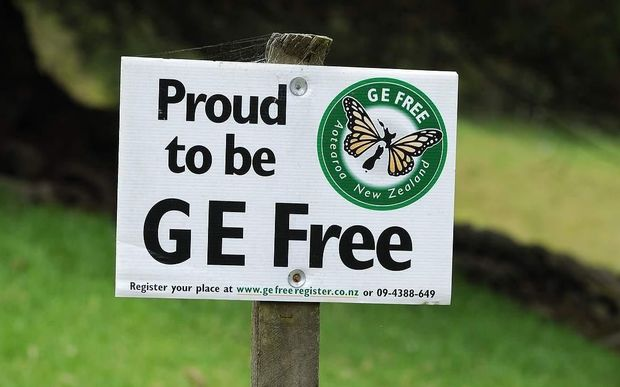 A 'Proud to be GE Free' sign in the Coromandel, New Zealand.