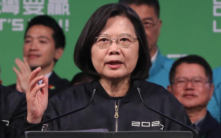 Tsai Ing-wen, current president of the Republic of China, declares her election victory after being shoo-in for the Taiwanese Presidential Election in front of her supporters in Taipei City, Taiwan on January 11, 2020.