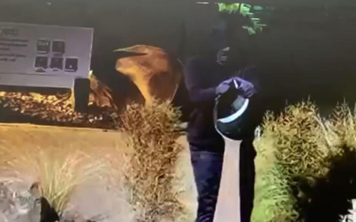 CCTV shows a man in a black hoodie taking the treasured pounamu sculpture.