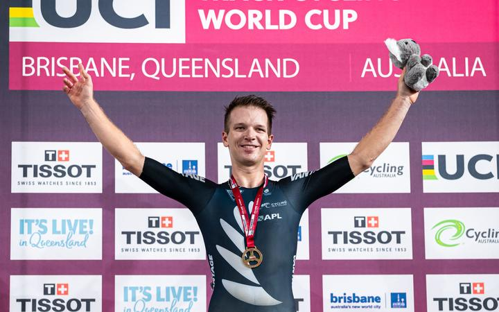 Aaron Gate of New Zealand wins Gold in the Men's Omnium.
