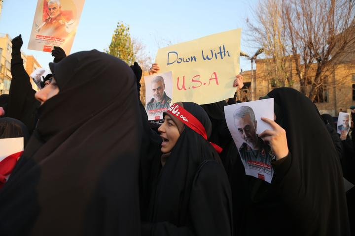 Iranians gather in front of Embassy of the United Kingdom to protest against British Ambassador Rob Macaire's attendance to a protest last night at Amirkabir University in Tehran, Iran on January 12, 2020.