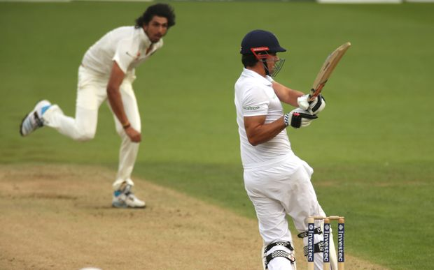 Alastair Cook batting against India at The Oval 2014.