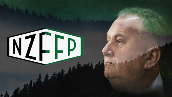 Composite image of the New Zealand Future Forest Products logo and Shane Jones, Forestry Minister and the minister responsible for the $3 billion Provincial Growth Fund.