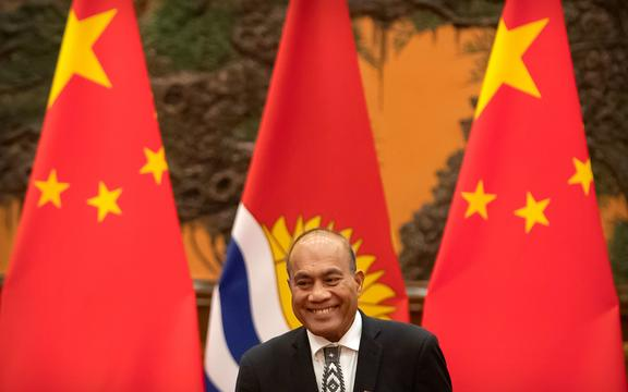 Kiribati's President Taneti Maamau reacts during a signing ceremony at the Great Hall of the People in Beijing on January 6, 2020.