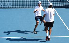 Marcus Daniell from New Zealand and Philipp Oswald from Poland at the 2020 ASB Classic.