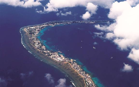 An aerial view of the downtown area of Majuro Atoll, the capital of the Marshall Islands, which has been hard hit by a dengue outbreak.