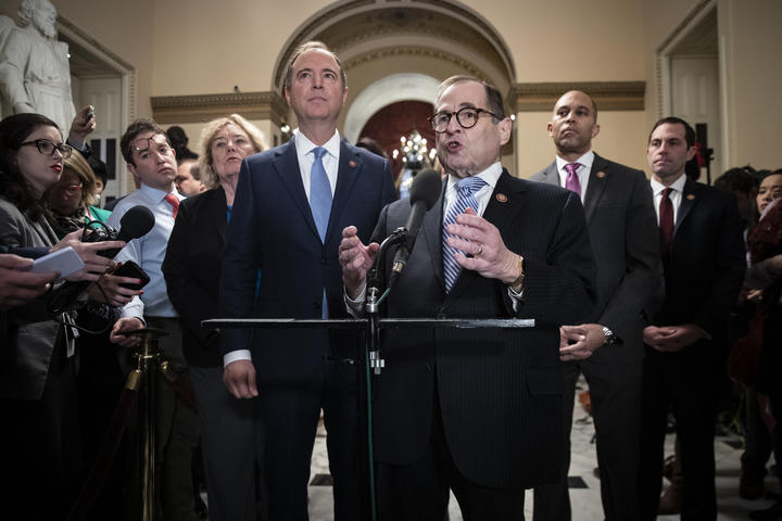 House impeachment managers Rep. Zoe Lofgren (D-CA), Rep. Adam Schiff (D-CA), Rep. Jerry Nadler (D-NY), Rep. Hakeem Jeffries (D-NY) and Rep. Jason Crow (D-CO), January 21, 2020 in Washington, DC.