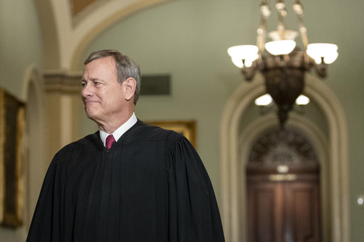 Supreme Court Chief Justice John Roberts arrives to the Senate chamber for impeachment proceedings at the U.S. Capitol on January 16, 2020 in Washington, DC.