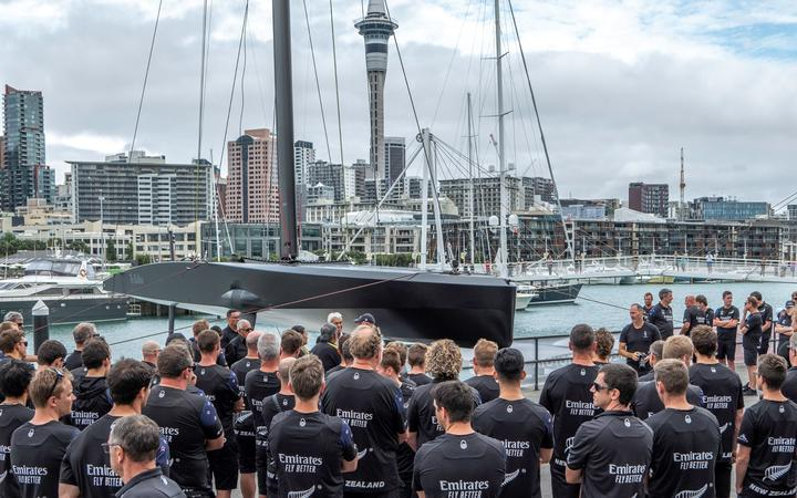 Emirates Team New Zealand unveil their new test boat Te Kāhu, meaning the Hawk.