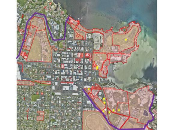 The other leaked council document - a map denoting council parks and reserves and stars indicating illegal camp sites. Council said the map is now outdated.
