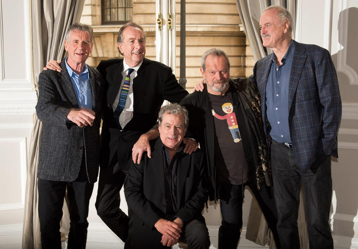 Terry Jones, at centre, with fellow Monty Python starts, from left, Michael Palin, Eric Idle, Terry Gilliam and John Cleese, pictured in 2013.
