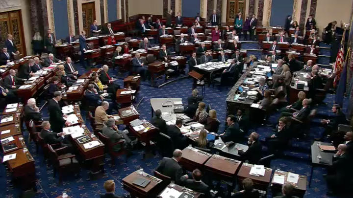 The US Senate during the impeachment trial of US President Donald Trump on 22 January.