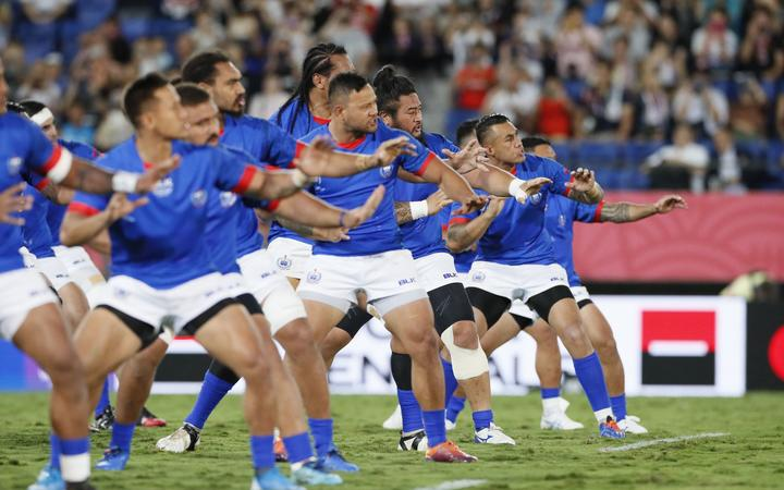 Samoan Siva Tau before Russia v Samoa, Rugby World Cup 2019 at Kumagaya Stadium, Saitama, Japan.