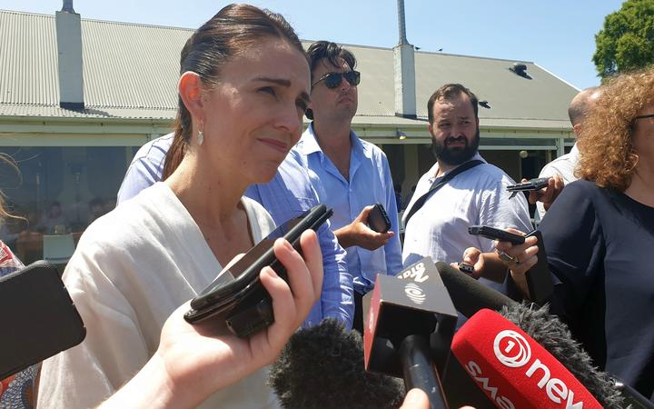 Prime Minister Jacinda Ardern speaks to reporters at the annual Labour caucus retreat in Martinborough.