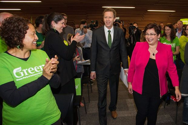 Green Party co-leader's Russel Norman and Metiria Turei arrive at the party's election campaign Launch in Auckland.