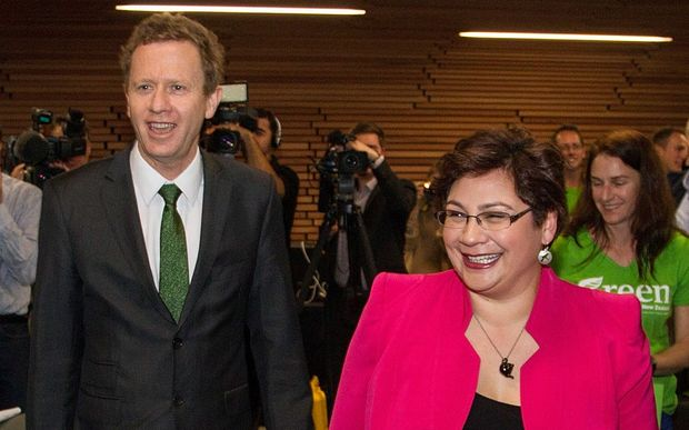 Green Party co-leaders Russel Norman and Metiria Turei arrive at the party's election campaign launch in Auckland.