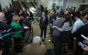 Jay Sekulow, personal lawyer for President Donald Trump, speaks to the media in the Senate Subway at the United States Capitol in Washington D.C., U.S., on Thursday, January 23, 2020, as the Senate continues to hear arguments in the impeachment trial of United States President Donald J. Trump.