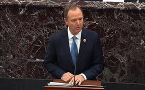 House Manager Adam Schiff speaking on the floor of the US Senate Chamber at the US Capitol during the impeachment trial of US President Donald Trump in Washington, DC.