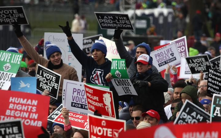 Demonstrators at the March for Life in Washington. January 2020.