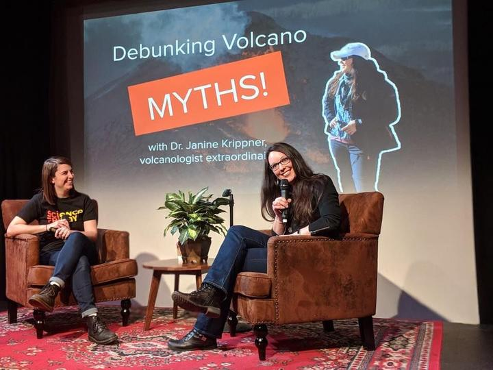 New Zealand volcanologist Dr Janine Krippner on stage for an event in NYC.