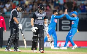 NZ captain Kane Williamson walks off after being caught during the T20 cricket international between India and New Zealand.