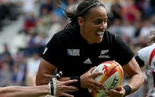 Women's Rugby World Cup 5th-6th Place Play-Off, Stade Jean Bouin, Paris, France 17/8/2014.USA vs New Zealand.New Zealand's Honey Hireme runs in for a try
