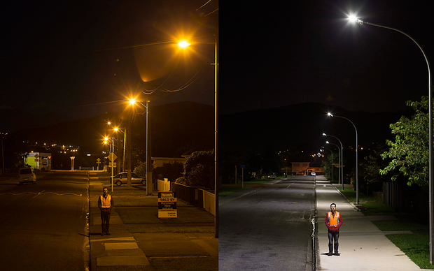 Smart Street lights in Tawa's Findlay Terrace before, left, and after LED lights were installed.
